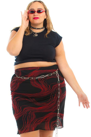 Vintage 90's Muse Red Spiral Midi Skirt - XL/2X/3X