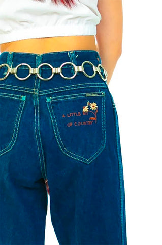 Vintage 80's Kenny Rogers Embroidered Jeans - XS