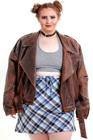 Vintage 80's Classic Brown Leather Moto Jacket - XL - 3X