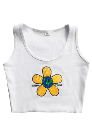 World Bloom Embroidered Crop Tank