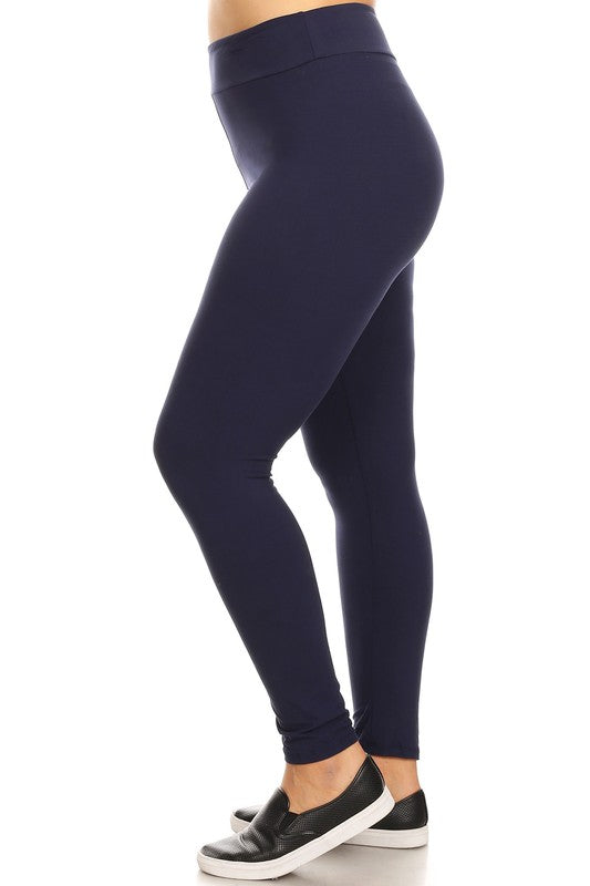High Waist Solid Navy Yoga Leggings Plus
