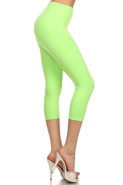 Solid Lime Green Capris