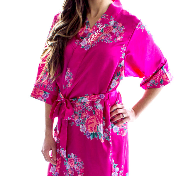 Personalized Floral Satin Bridesmaid Robes (Multiple Colors)