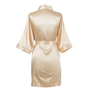 Personalized Glitter Script Satin Robe