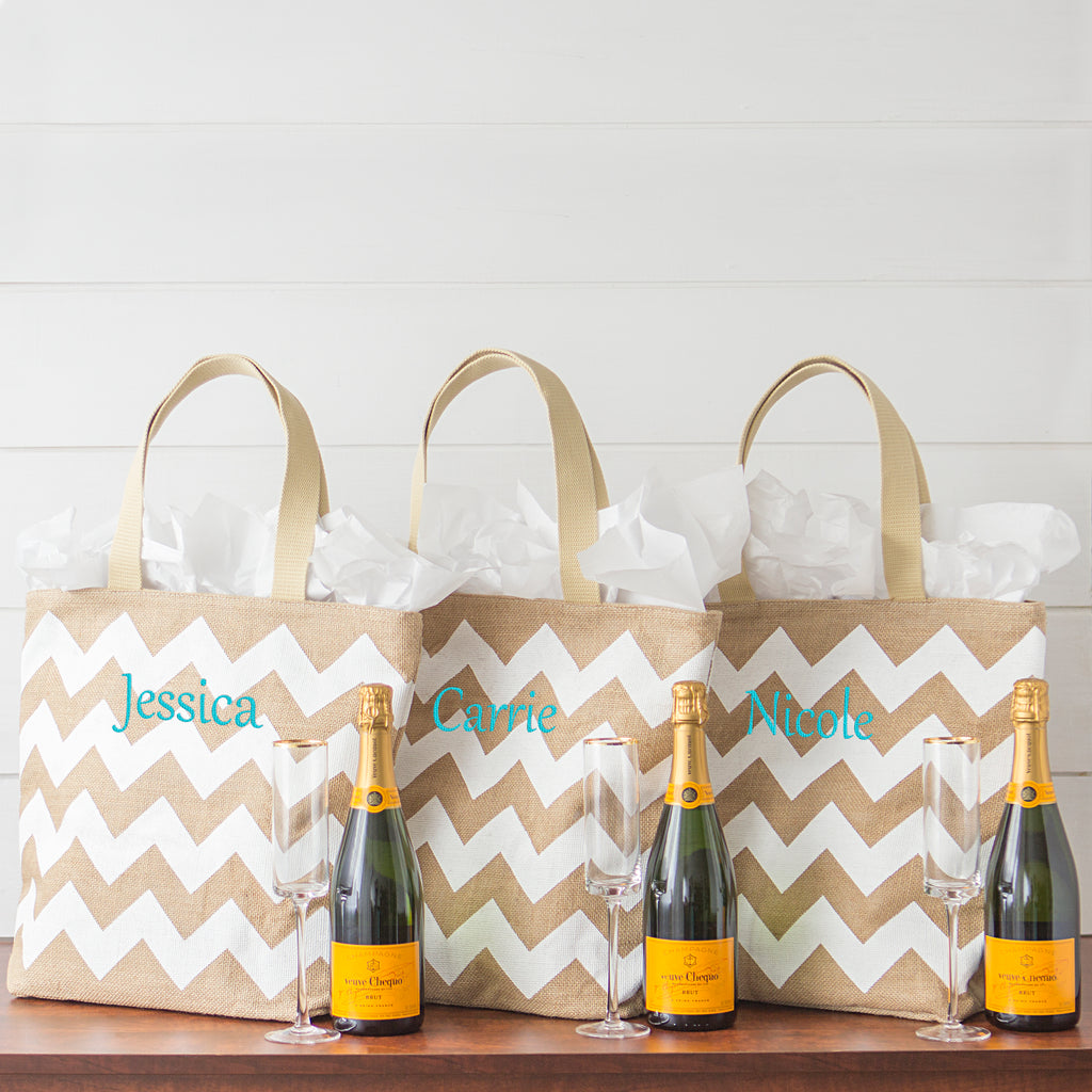 Chevron Natural Jute Tote Bag Bridesmaid Gift