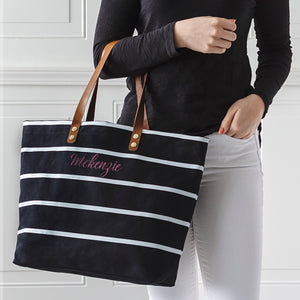 Personalized Large Striped Tote Bag