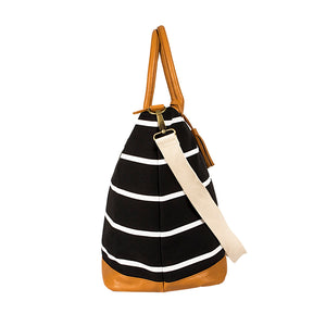 Personalized Striped Canvas Oversized Weekender Tote