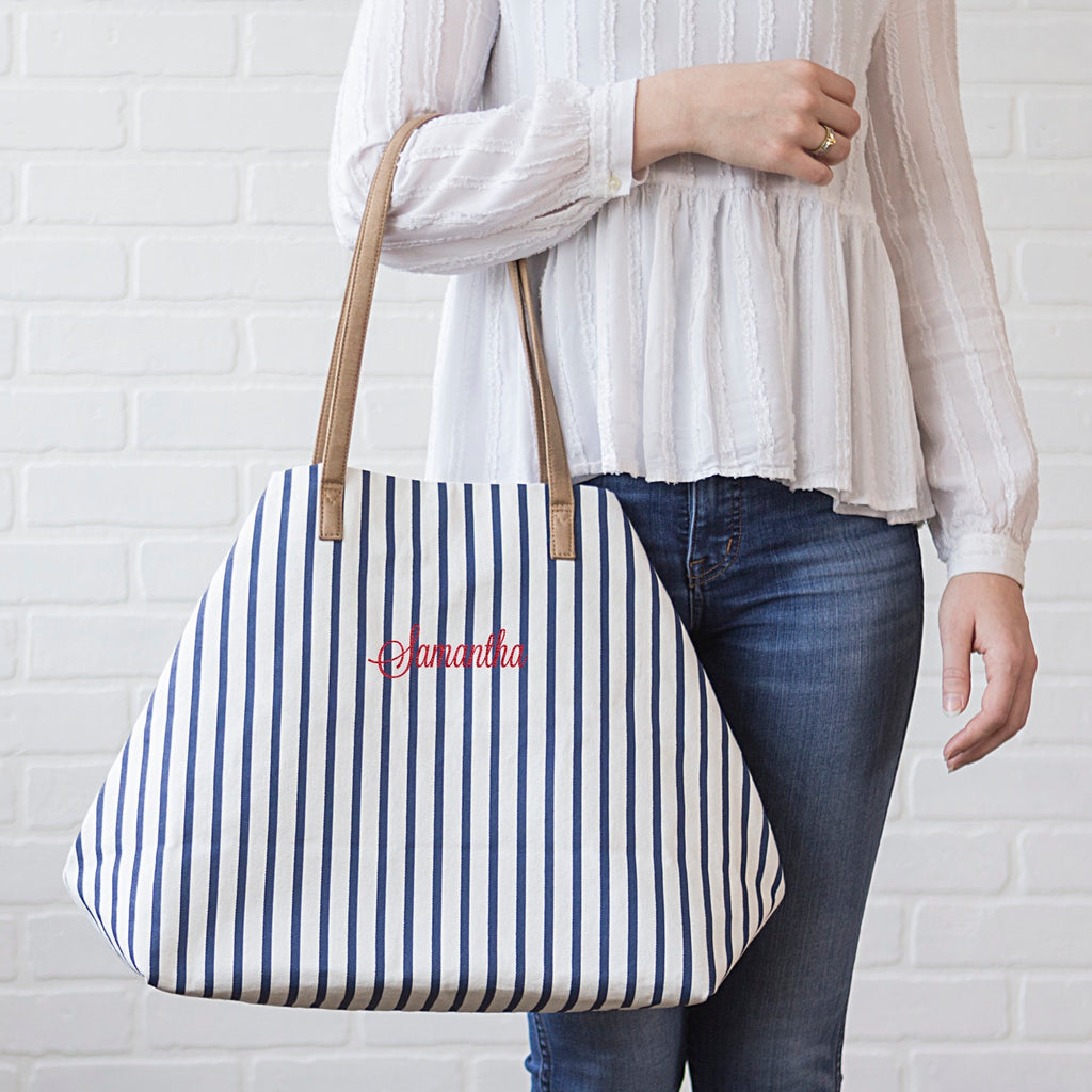 Personalized Striped Overnight Tote