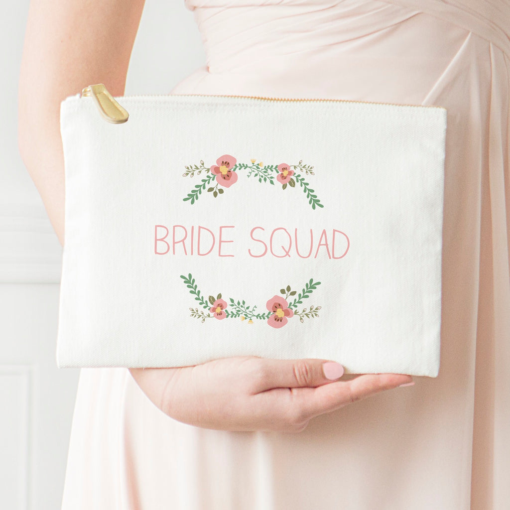 Personalized Floral Canvas Clutch Bridesmaid Gift