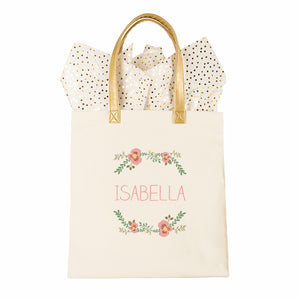 Personalized Floral Canvas Tote Bridesmaids Gift