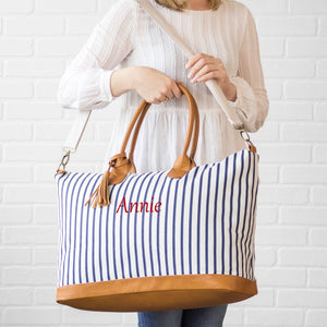 Personalized Striped Weekender Tote