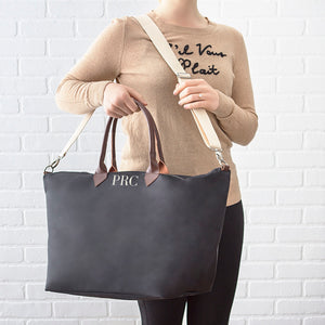 Personalized Black Microfiber Weekender Tote