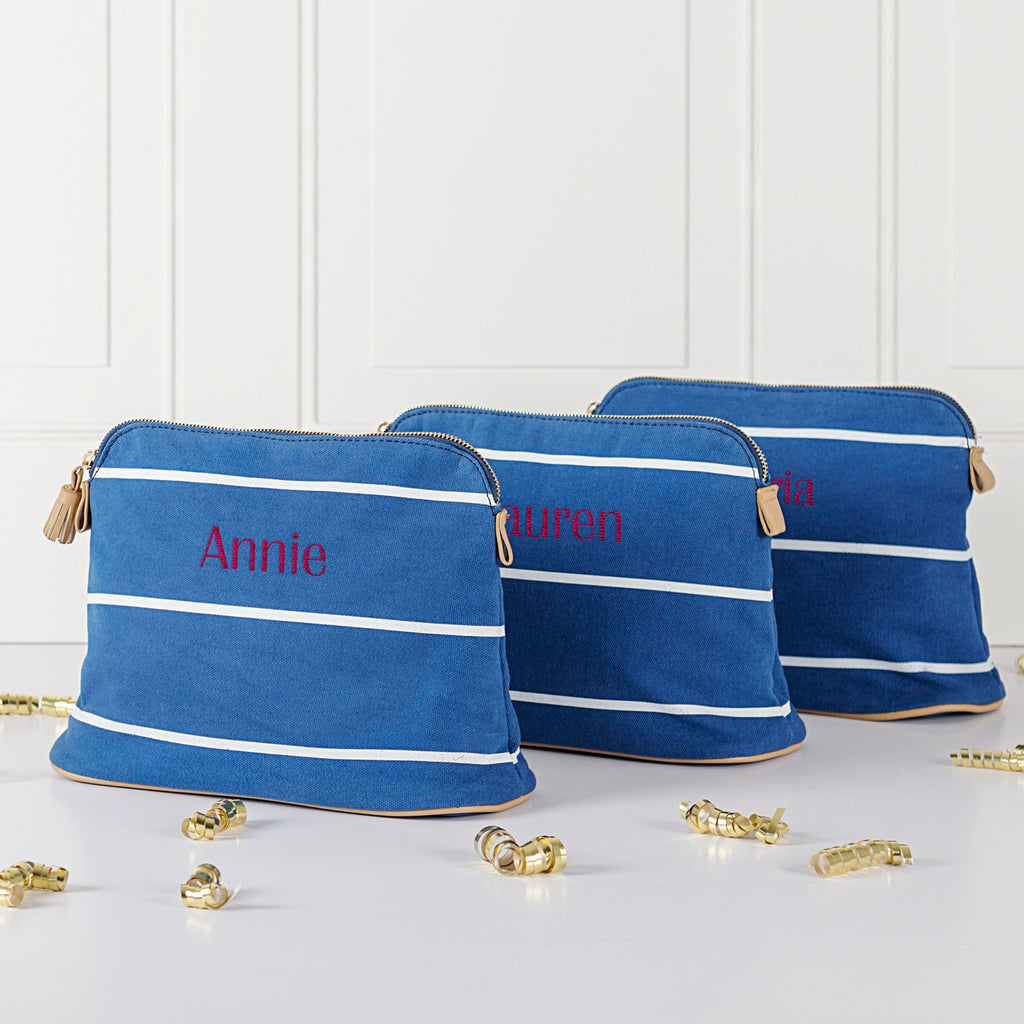 Personalized Striped Cosmetic Bag