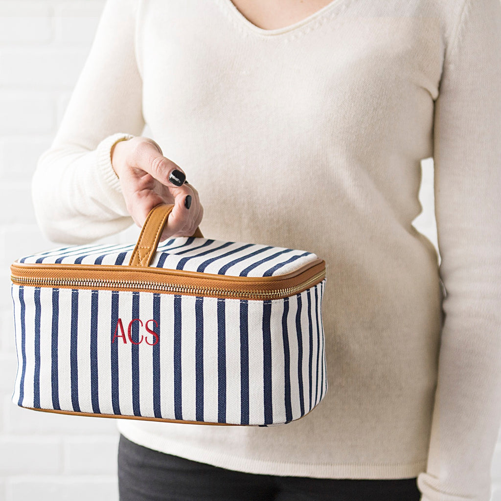 Personalized Striped Cosmetic Case