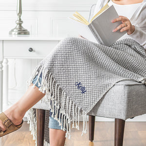 Personalized Herringbone Throw