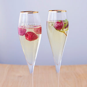 Personalized 7 oz. Gold Rim Champagne Flutes (Set of 2)