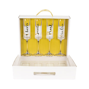 Gold Cheers Contemporary Champagne Flutes