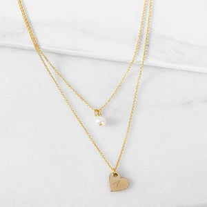 Bridesmaid Double Chain Necklace Gold