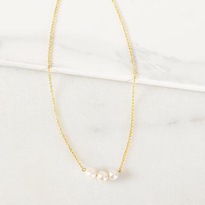 Bridesmaid Three Pearl Necklace Gold