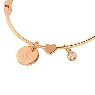 Bridesmaid Wire Bracelet with Sliding Heart Pendant