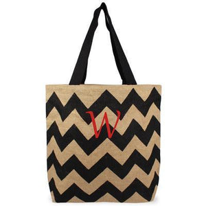 Chevron Natural Jute Tote Bag Bridesmaid Gift BLACK