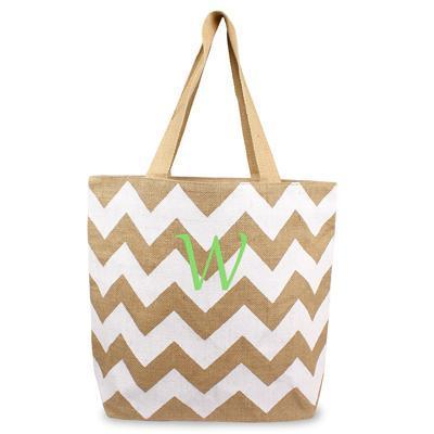 Chevron Natural Jute Tote Bag Bridesmaid Gift WHITE