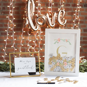Personalized Floral Heart Drop Guestbook