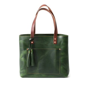 Deluxe Leather Tote EMERALD GREEN