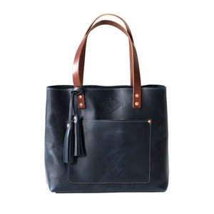 Deluxe Leather Tote INK BLUE