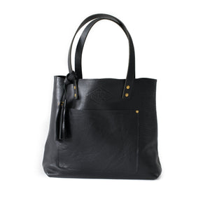 Deluxe Leather Tote PEBBLE BLACK