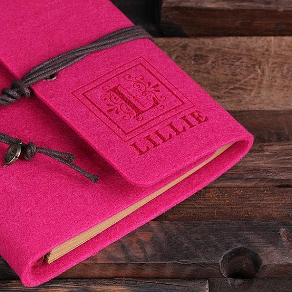 Felt Notebook Journal in 12 Vibrant Colors Fushia