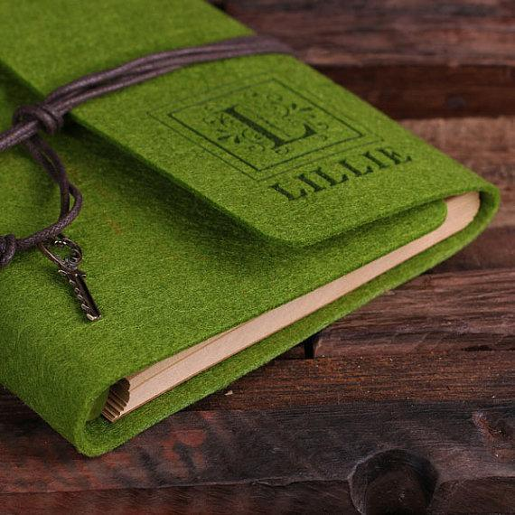 Felt Notebook Journal in 12 Vibrant Colors Tropical Green