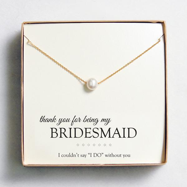 Floating Freshwater Pearl Necklaces - Gift for Bridesmaid Gold