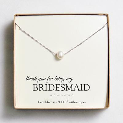 Floating Freshwater Pearl Necklaces - Gift for Bridesmaid Silver