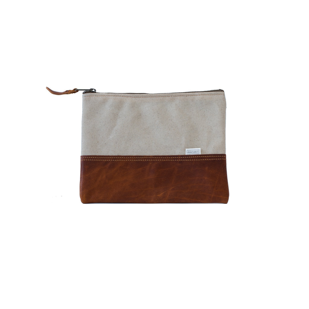 Leather Clutch BRANDY & NATURAL