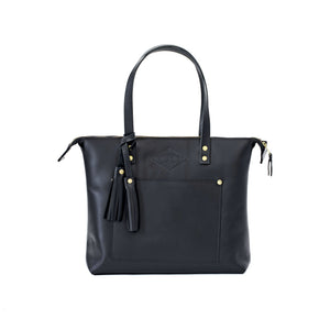 Leather Zipper Tote YES / BLACK