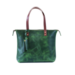 Leather Zipper Tote YES / EMERALD GREEN