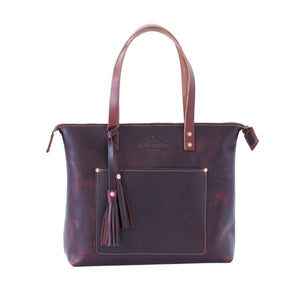 Leather Zipper Tote YES / OXBLOOD