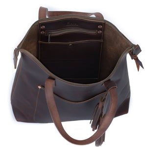 Leather Zipper Tote YES / OXFORD BROWN
