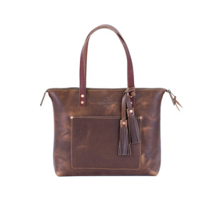 Leather Zipper Tote YES / OXFORD NATURAL