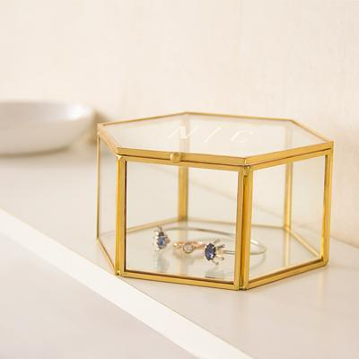 Monogrammed Gold Glass Keepsake Box