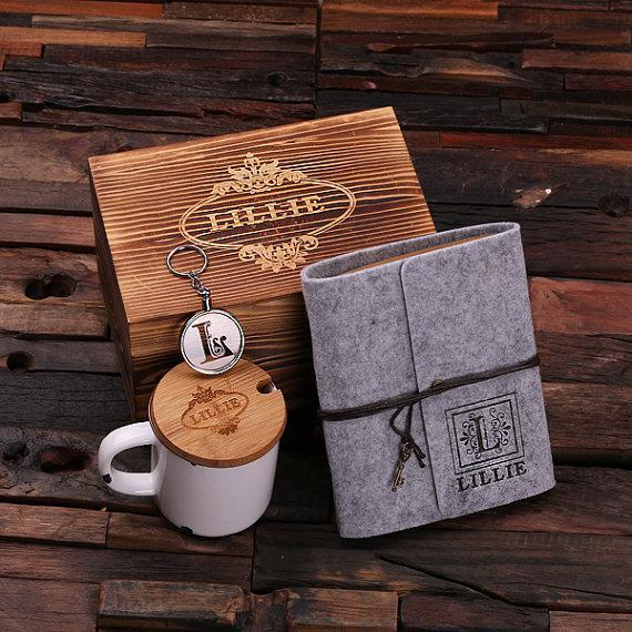 Personalized 4 pc Women's Gift Set w/Keepsake Box Grey/White