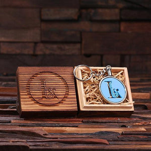 Personalized Acrylic Monogram Key Chain with Wood Box Baby Blue