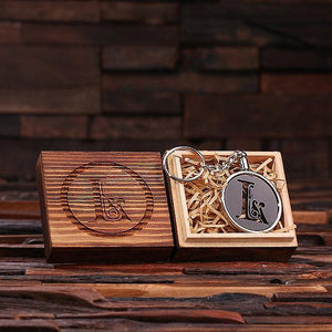 Personalized Acrylic Monogram Key Chain with Wood Box Black