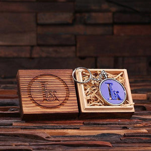 Personalized Acrylic Monogram Key Chain with Wood Box Blue