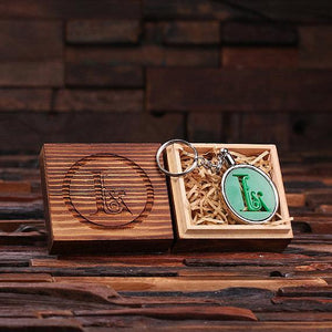 Personalized Acrylic Monogram Key Chain with Wood Box Green