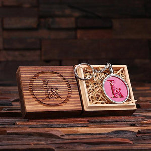 Personalized Acrylic Monogram Key Chain with Wood Box Hot Pink