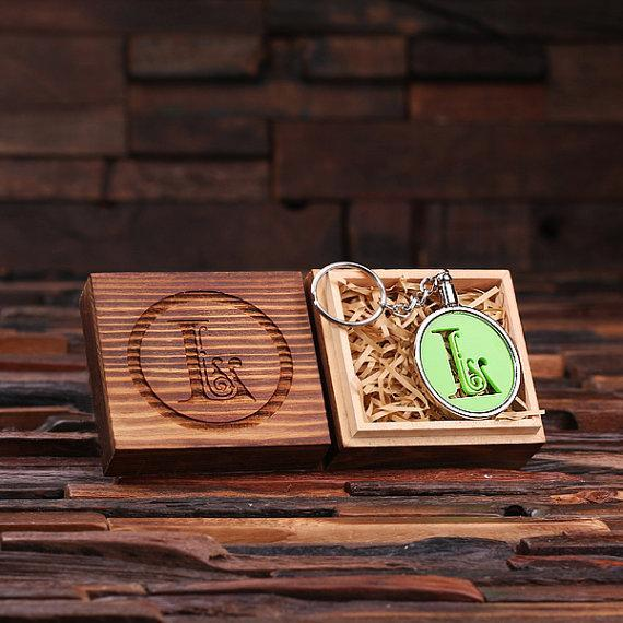 Personalized Acrylic Monogram Key Chain with Wood Box Lime Green