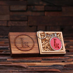 Personalized Acrylic Monogram Key Chain with Wood Box Red