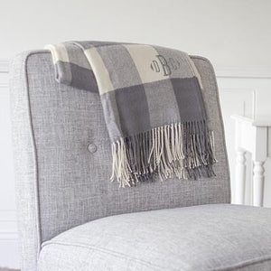 Personalized Buffalo Check Throw Grey